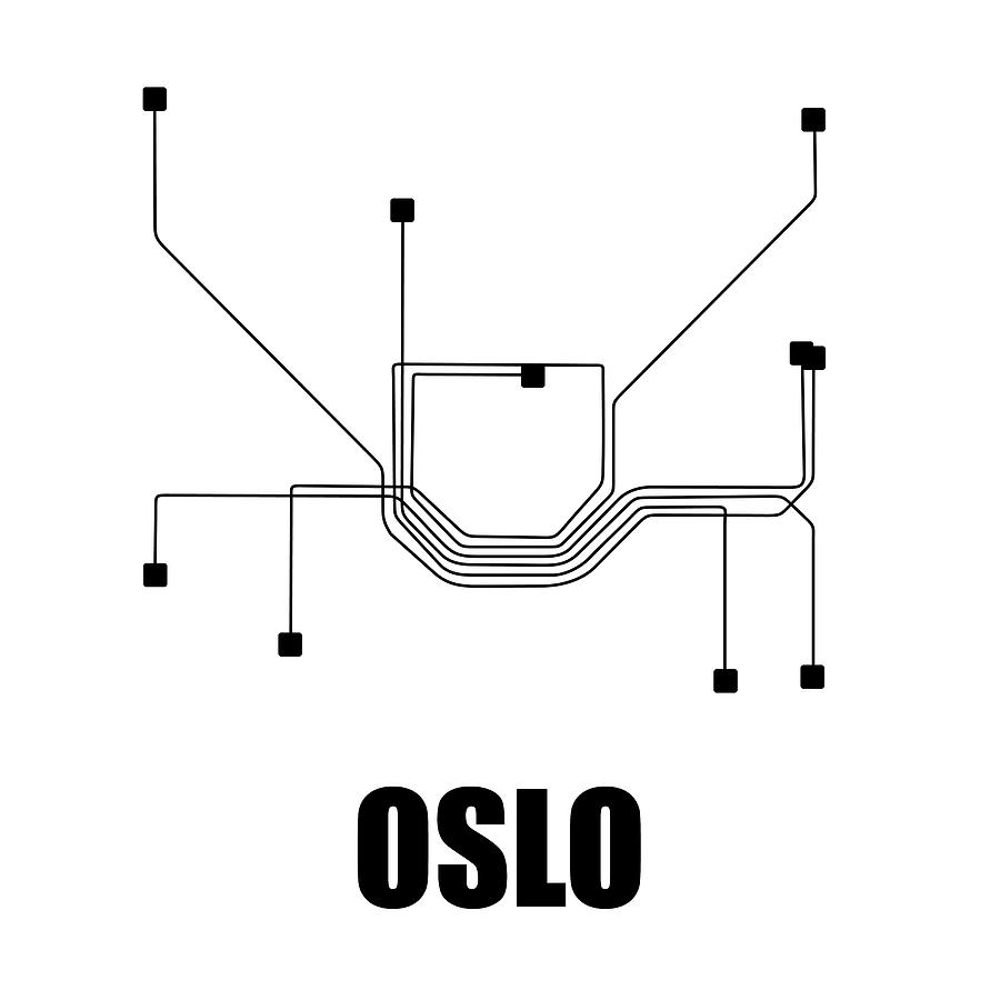 Black And White Subway Map.Oslo White Subway Map By Naxart Studio