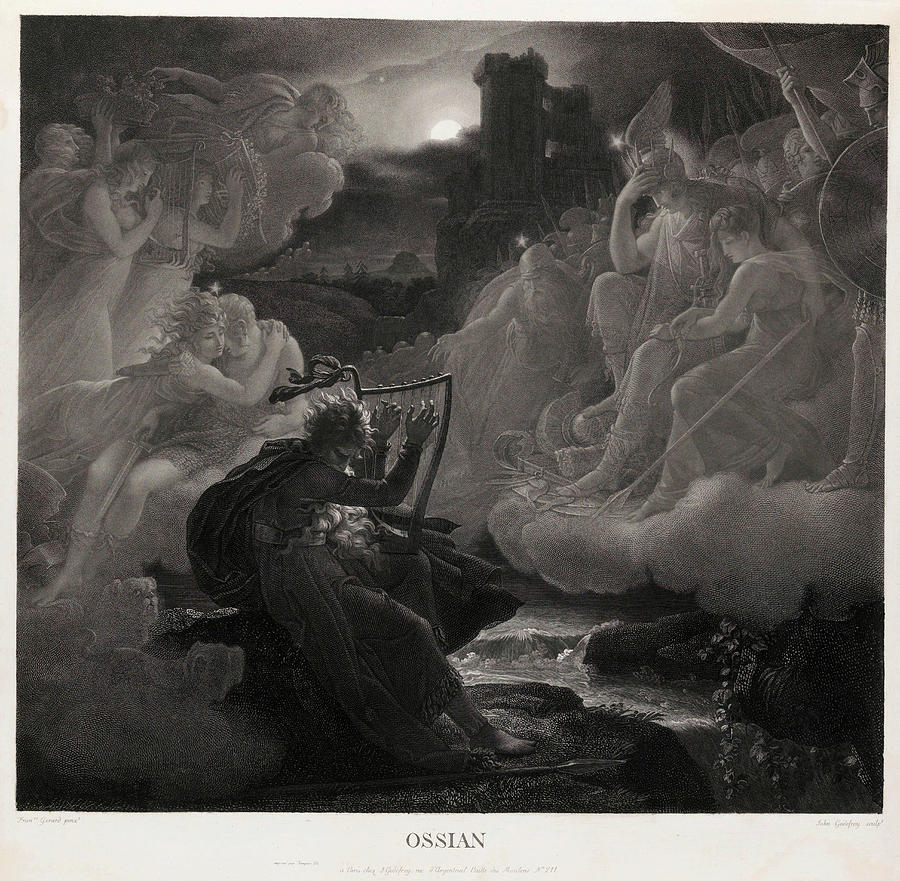 Jean Painting - Ossian Awakening The Spirits On The Banks Of The Lora With The Sound Of His Harp, 1801 by Jean Godefroy