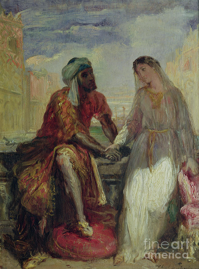 Othello Painting - Othello And Desdemona In Venice, 1850 by Theodore Chasseriau
