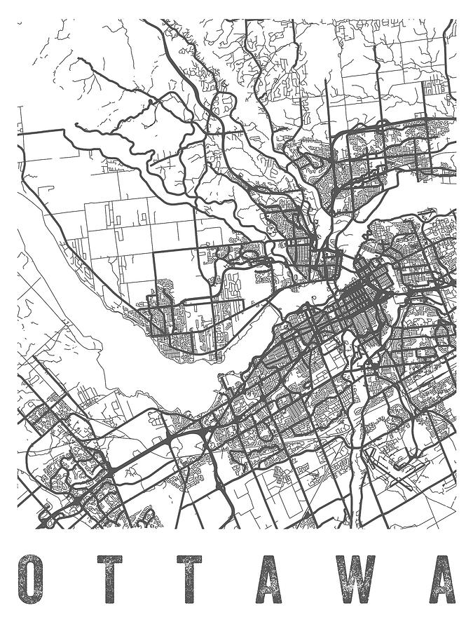 Ottawa Canada Street Map Ottawa Canada Street Map   CAOW01 Digital Art by Aged Pixel