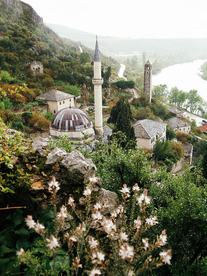 Ottoman Mosque Above The Neretva River On Rainy Spring Afternoon