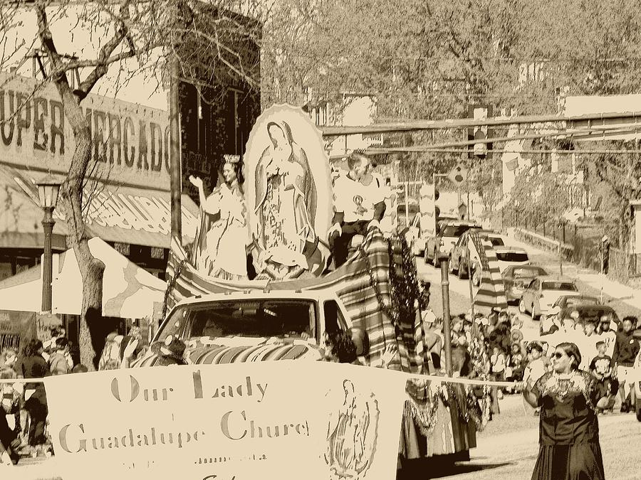 Our Lady Of Guadalupe Float At Cinco De Mayo Parade Photograph