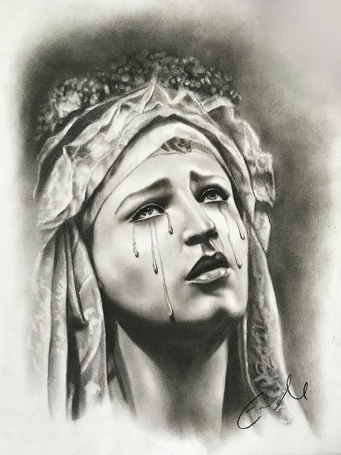 Our Lady Of Sorrows Drawing - Our Lady Of Sorrows by Eric  Armusik