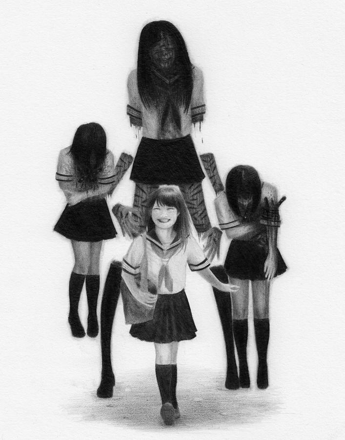 Horror Drawing - Our Last School Days - Artwork by Ryan Nieves