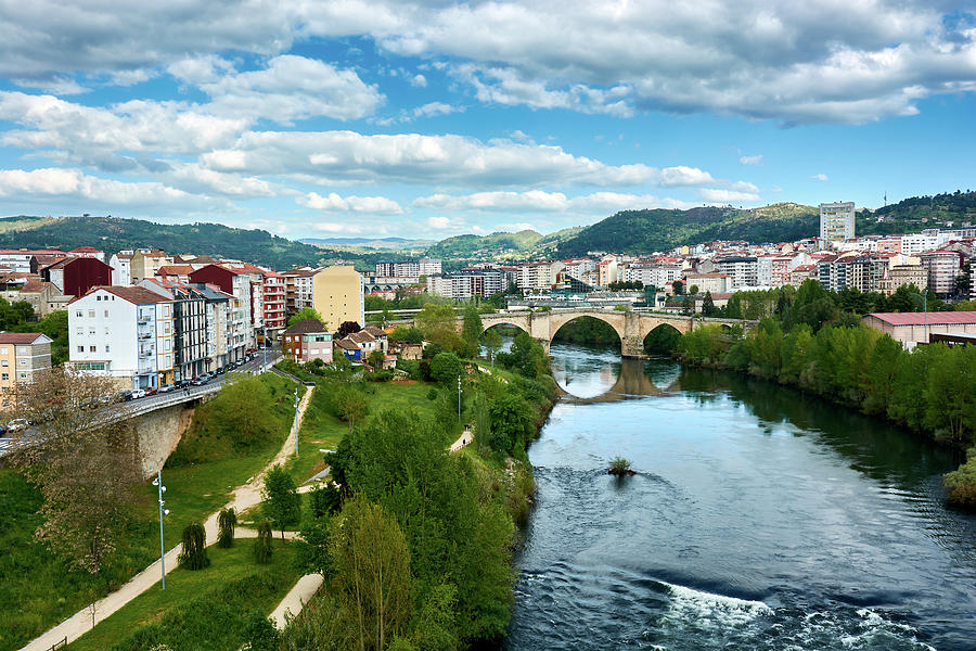 Ourense and the Roman Bridge from the Millennium Bridge by Eduardo Jose Accorinti