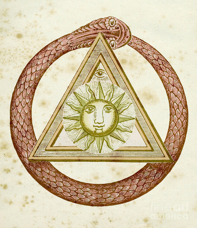 Ouroboros Drawing - Ouroboros, Delta, And The Divine Eye With The Sun, From The Kneph by English School