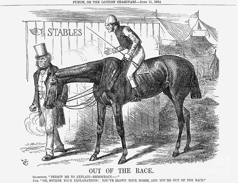 Out Of The Race, 1864. Artist John Drawing by Print Collector