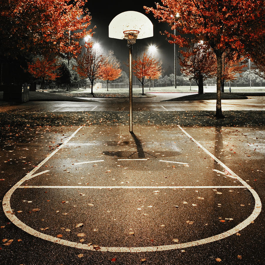 Outdoors Basketball Court, Night Photograph by Andersen Ross