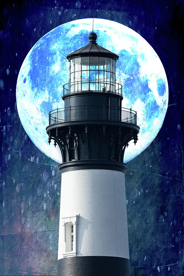 Outer Banks Bodie Lighthouse and Moon by Dan Carmichael