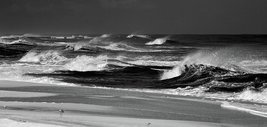 Outer Banks Stormy Seas BW by Dan Carmichael