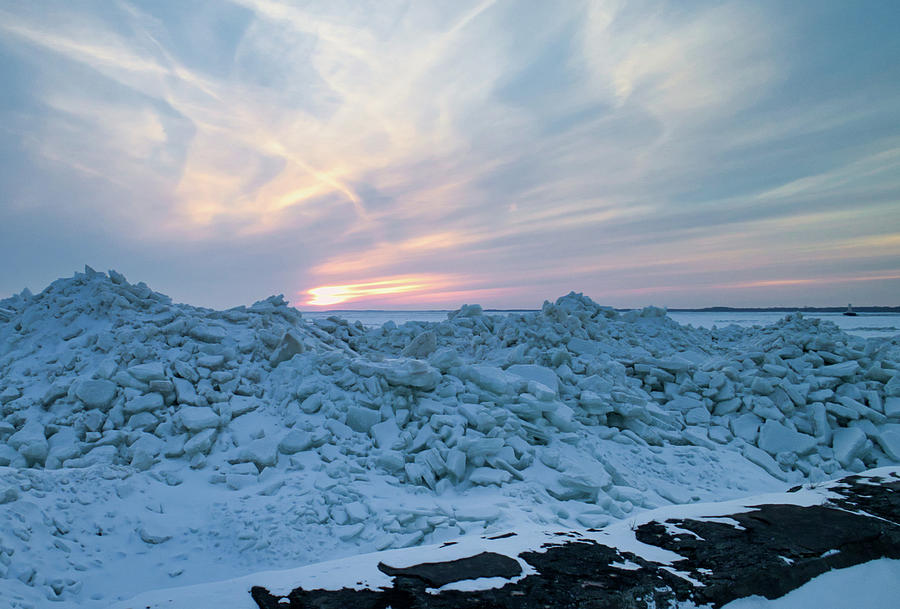 Ice Photograph - Outer Harbor Icey Sunset by Christopher Behrend