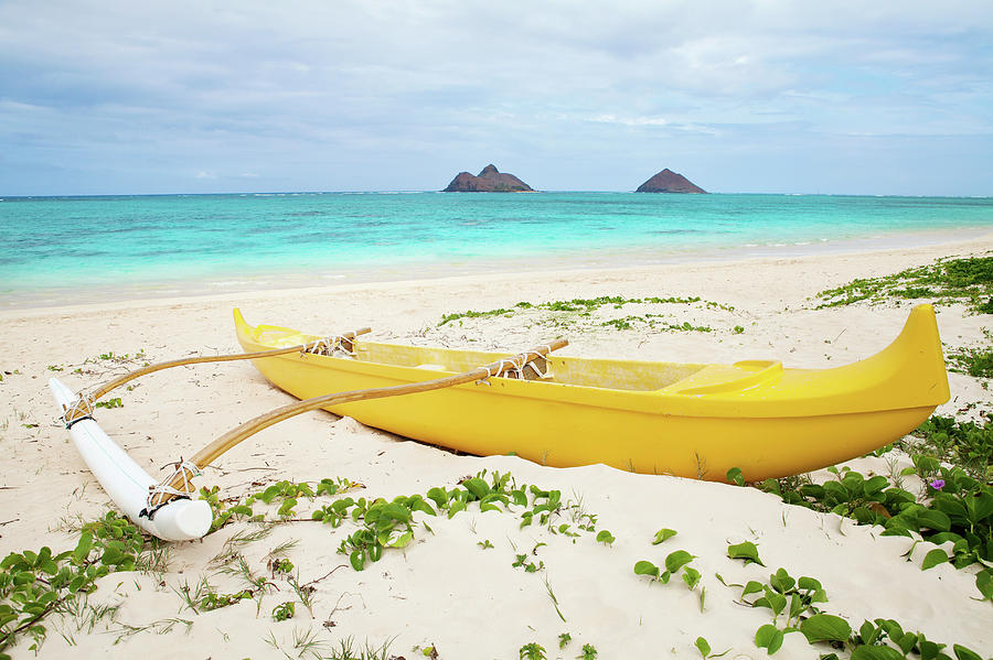 Outrigger Canoe Lanikai Beach Photograph by M Swiet Productions