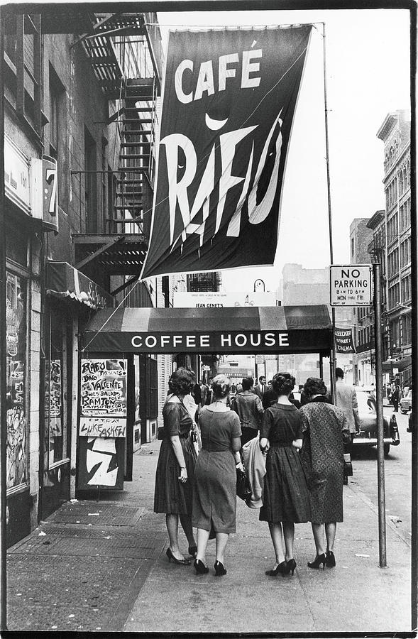 Outside The Cafe Rafio Photograph by Fred W. McDarrah
