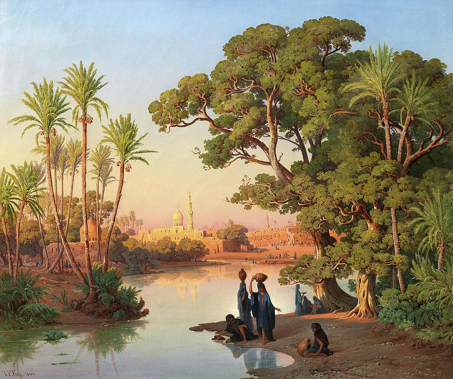 Frey Painting - Outskirts Of Cairo by Johann Jakob Frey