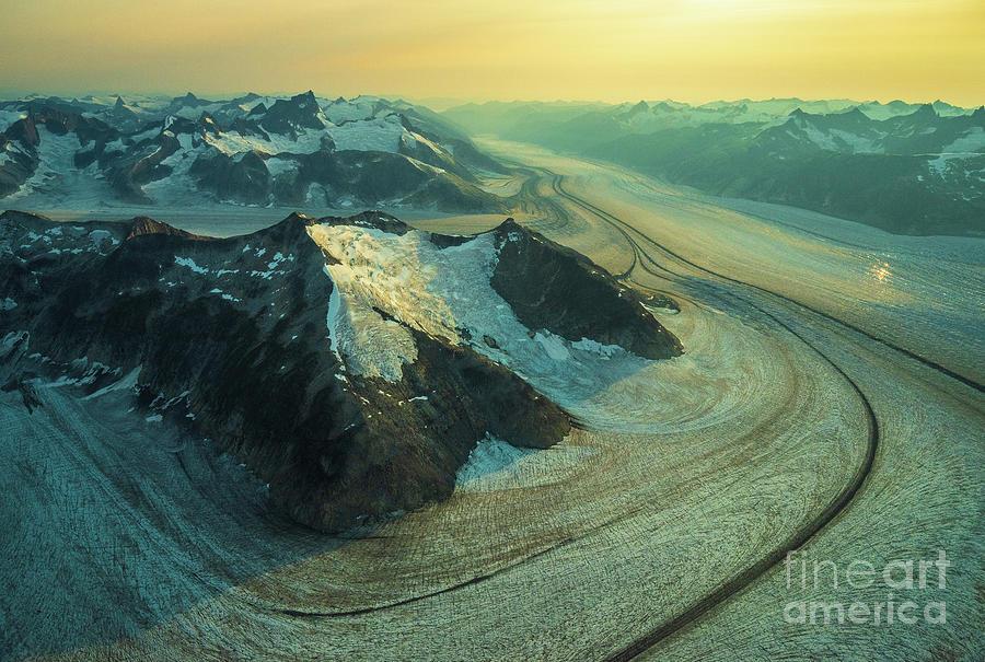 Over Alaska Baird Glacier Roads Dusk Photograph