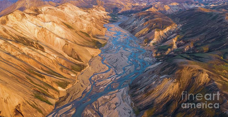 Over Iceland Landmannalaugar Highlands And Braided Rivers Dusk Light Photograph
