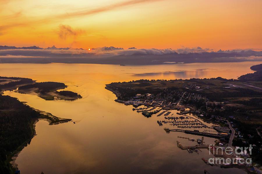 Over Petersburg Alaska At Sunrise Along The Coastal Range Photograph