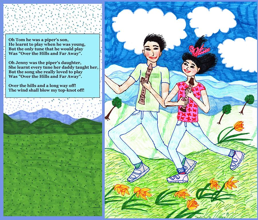 Nursery Rhyme Drawing - Over The Hills And Far Away With Words by Sushila Burgess