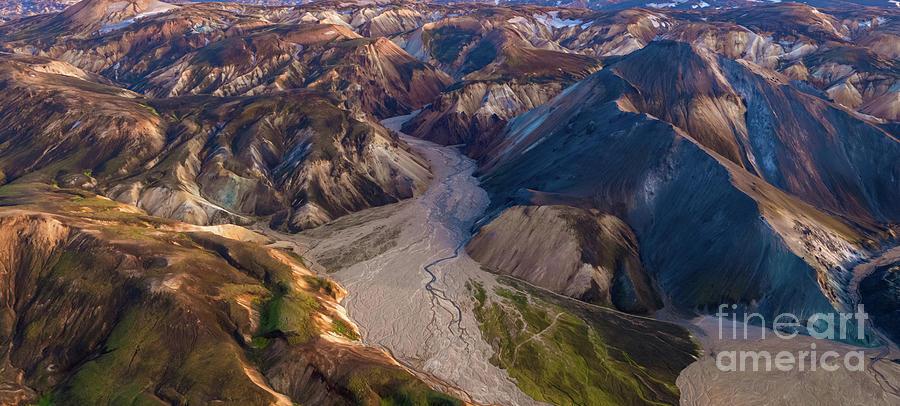 Over The Icelandic Highlands Blue Mountain And Landmannalaugar Photograph