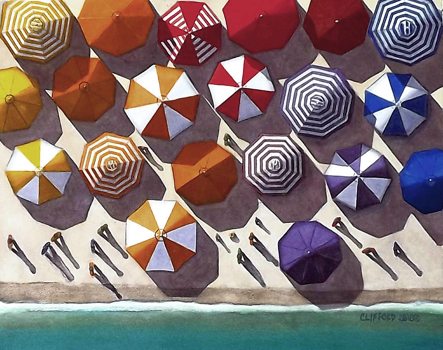 Umbrellas Painting - Overhead Beach by Cory Clifford