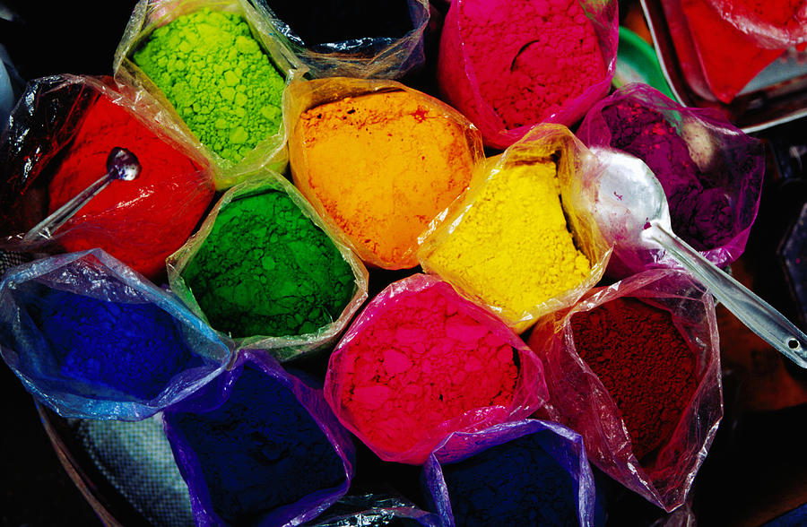 Overhead Of Coloured Powders For Sale Photograph by Richard  Ianson