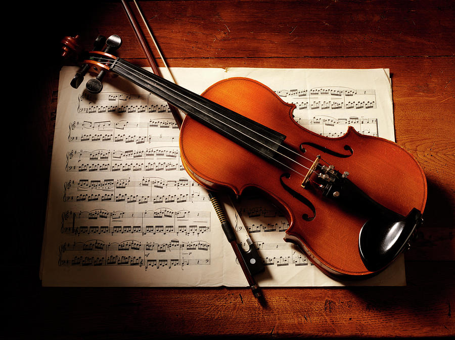Overhead View Of A Violin And Music Photograph by Wragg
