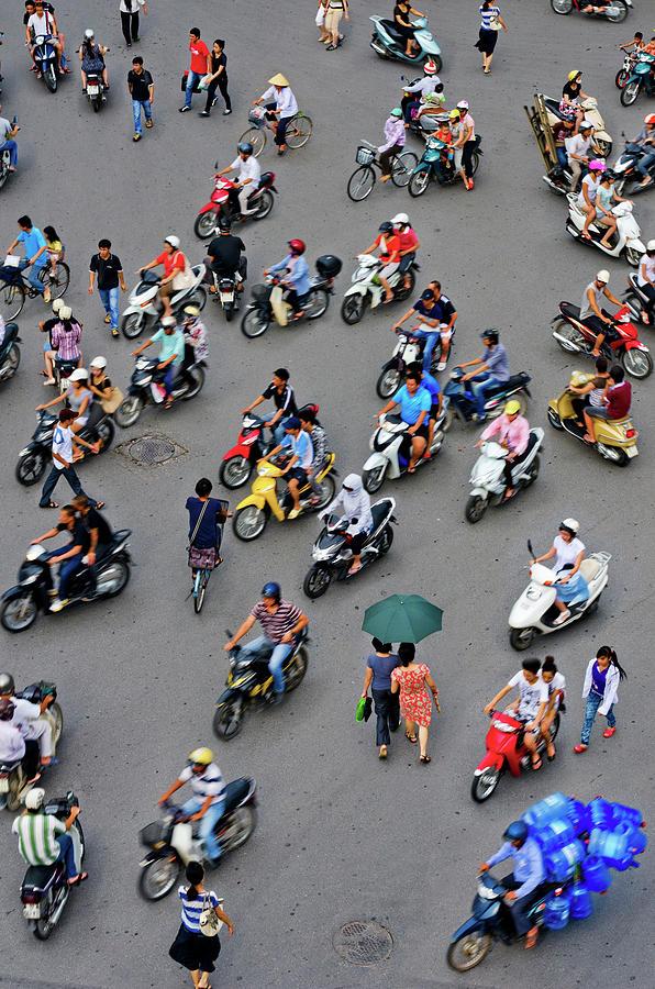 Overhead View Of Motorbike Traffic Photograph by Rwp Uk