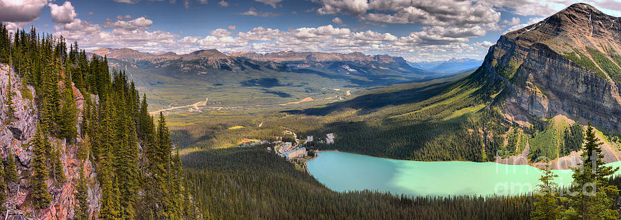 Overlooking Lake Louise And The Chateau by Adam Jewell