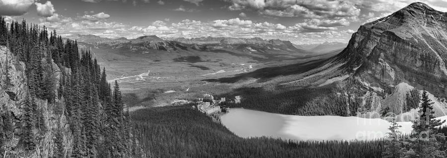 Overlooking Lake Louise And The Chateau Black And White by Adam Jewell