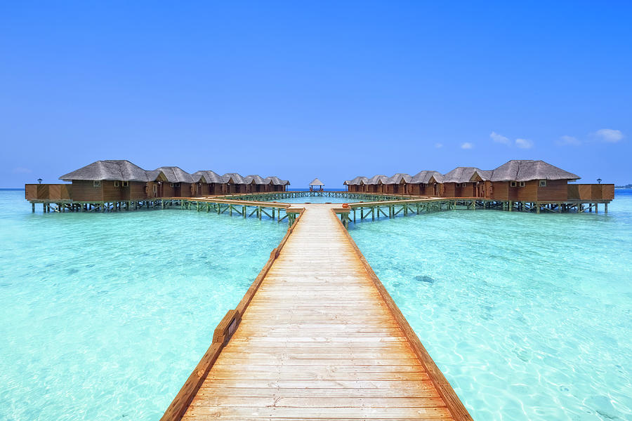 Overwater Bungalows Boardwalk Photograph by Cinoby