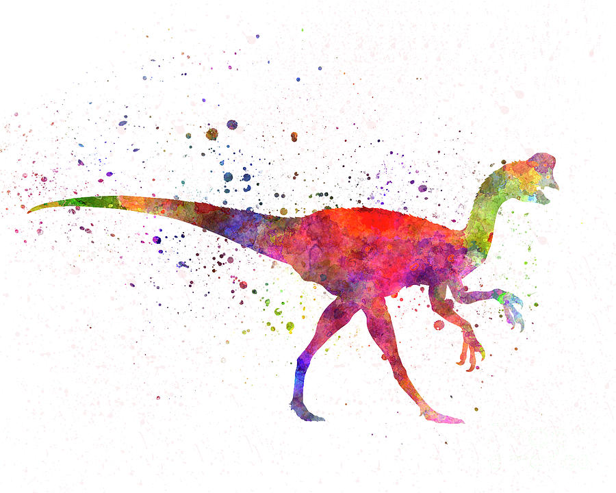 Oviraptor dinosaur in watercolor by Pablo Romero