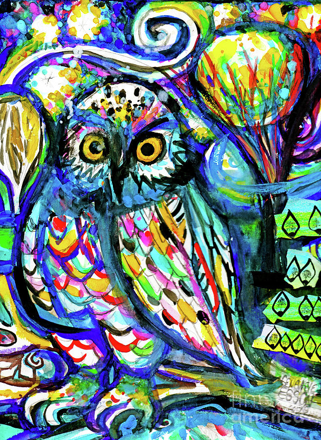Owl Abstract Painting by Genevieve Esson