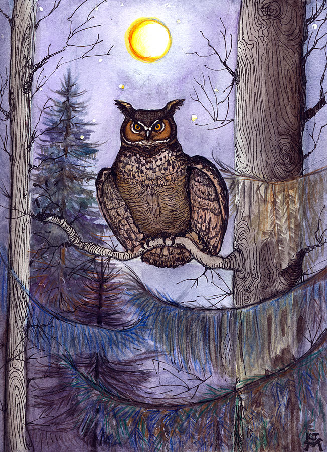 Great Horned Owl Painting - Owl Amid The Evergreen by Katherine Miller