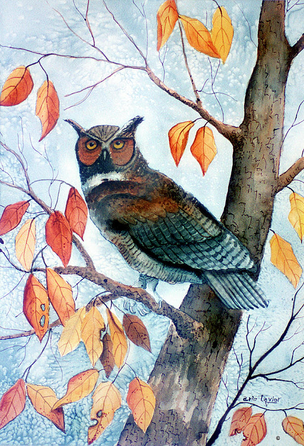 Great Horned Owl Painting - Owl And Autumn Leaves by Arie Reinhardt Taylor