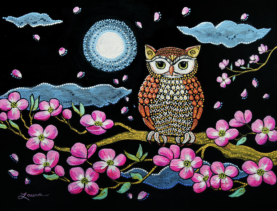 Owl in Dogwood Blossoms by Laura Iverson
