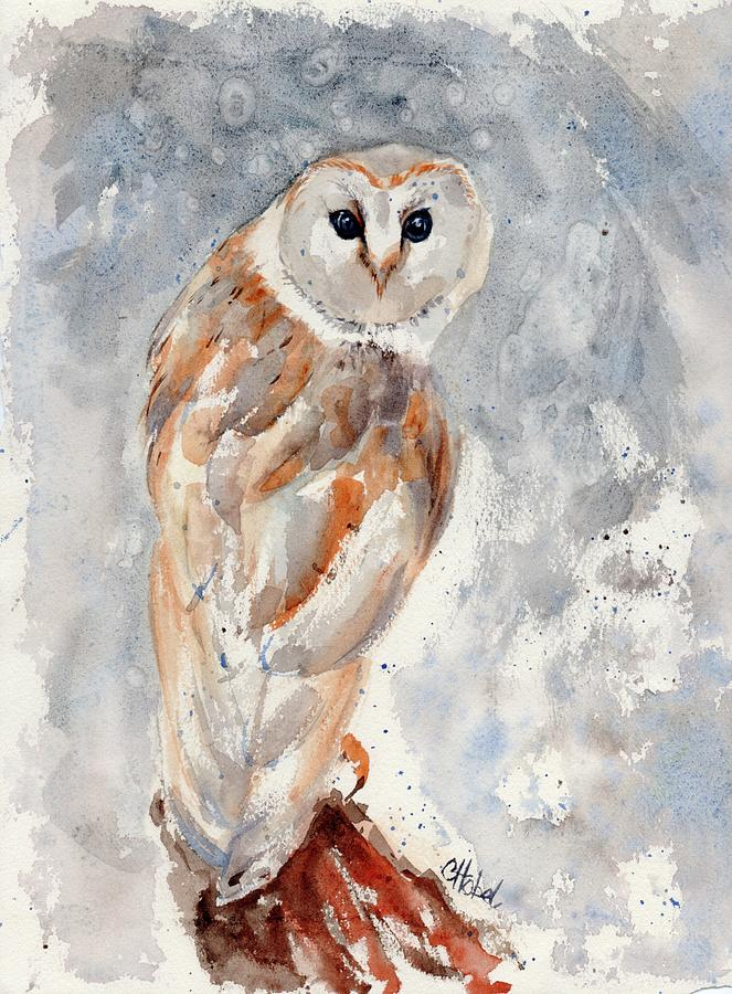 owl watercolour painting by Chris Hobel