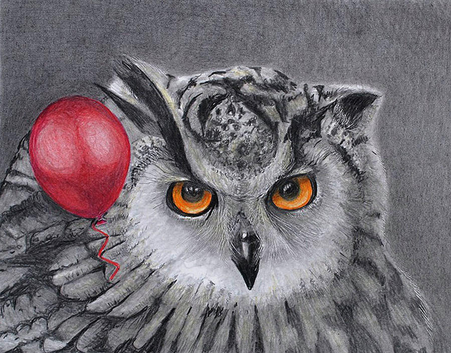owl with the red balloon by Tim Ernst