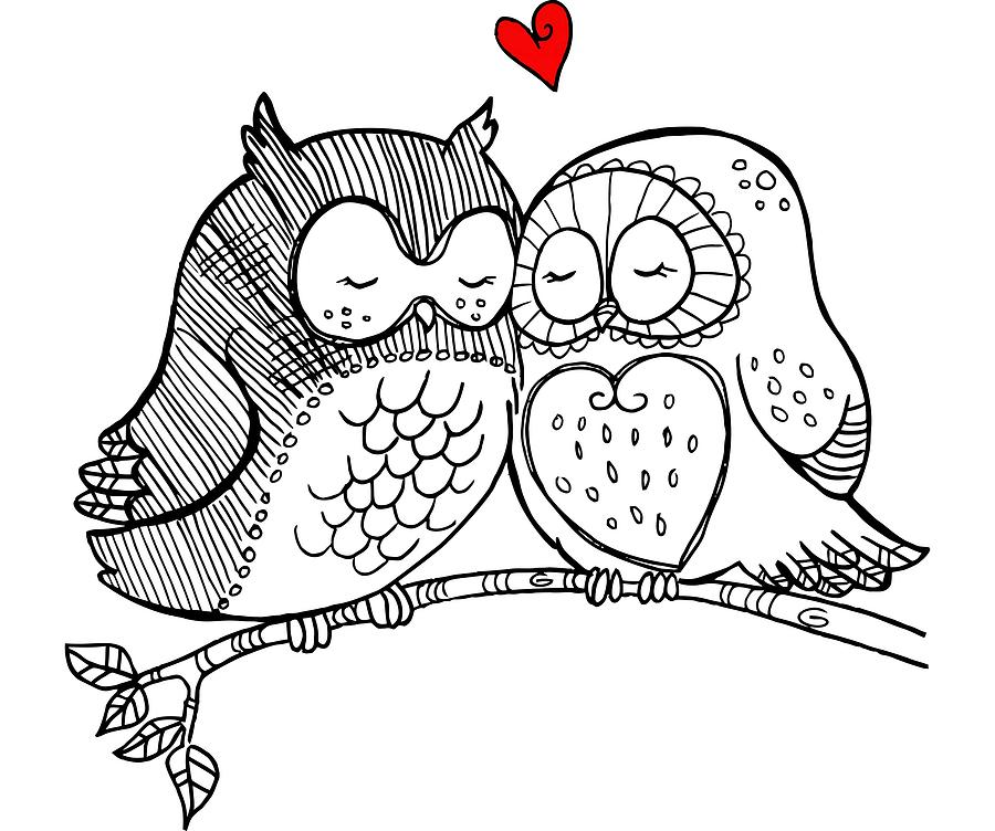 Owls in Love 121 by Ericamaxine Price