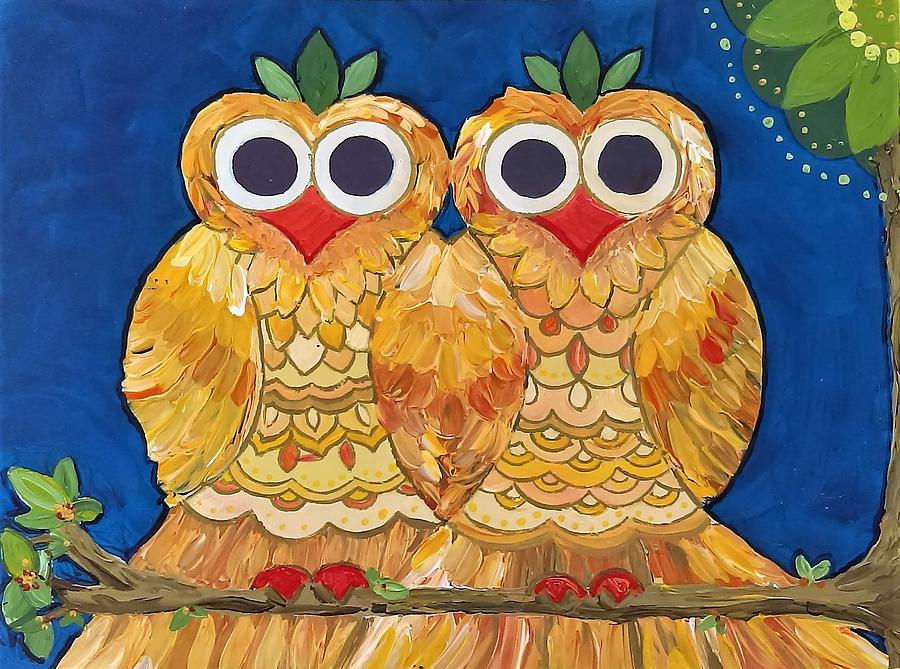 Owls on a Branch by Caroline Sainis