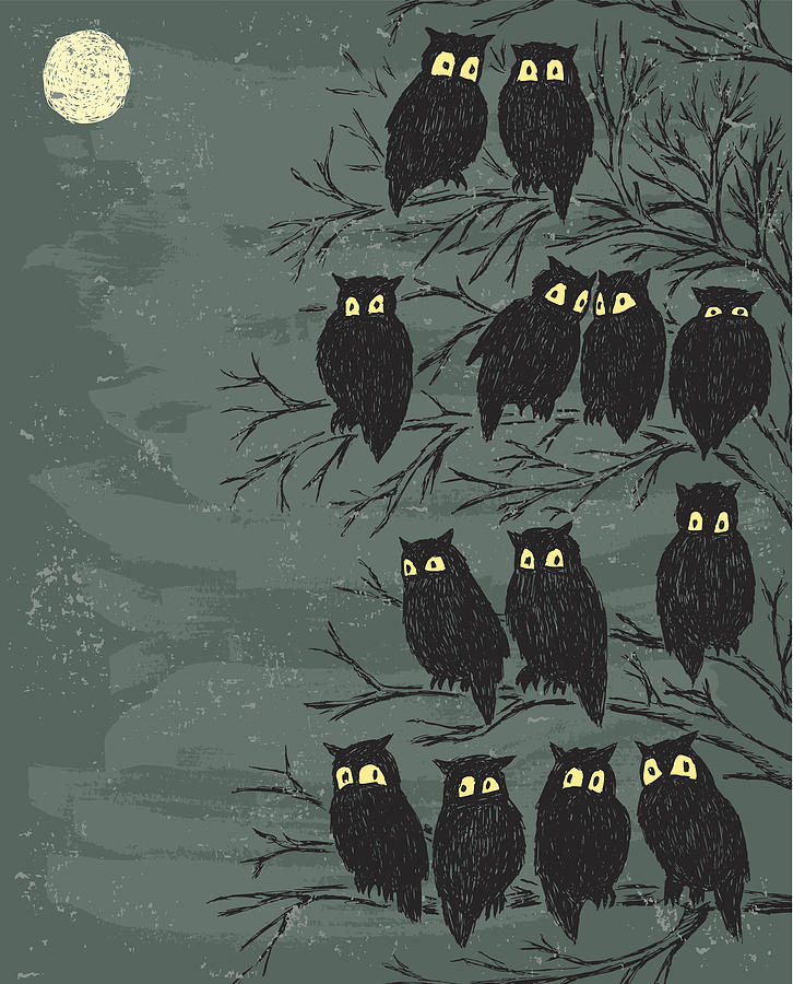 Owls On A Tree Digital Art by Mubai
