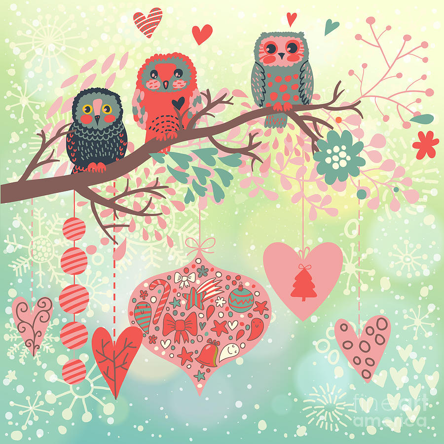 Gift Digital Art - Owls On The Branch In Leafs And Hearts by Smilewithjul