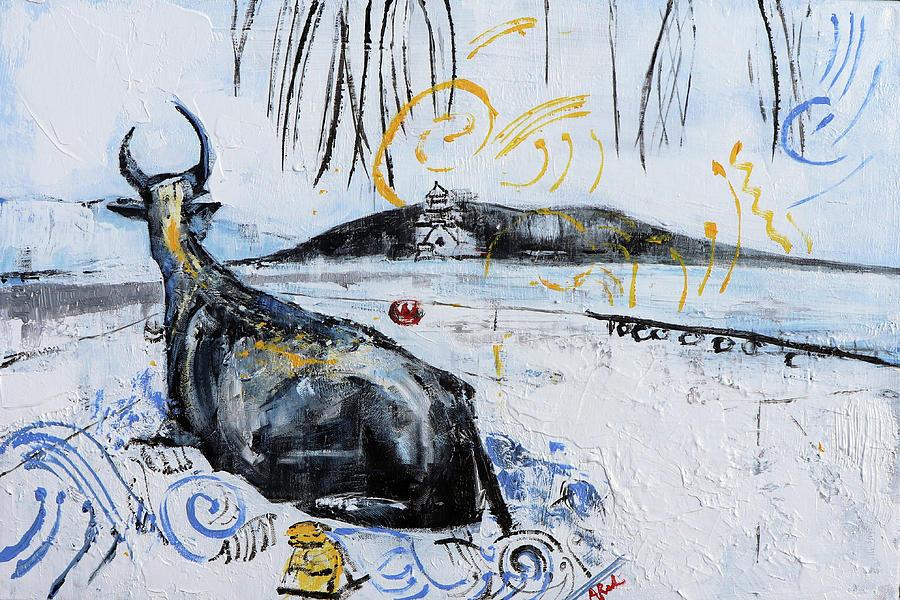 Summer Palace Painting - Ox Summer Palace 2019-18 by Alyse Radenovic