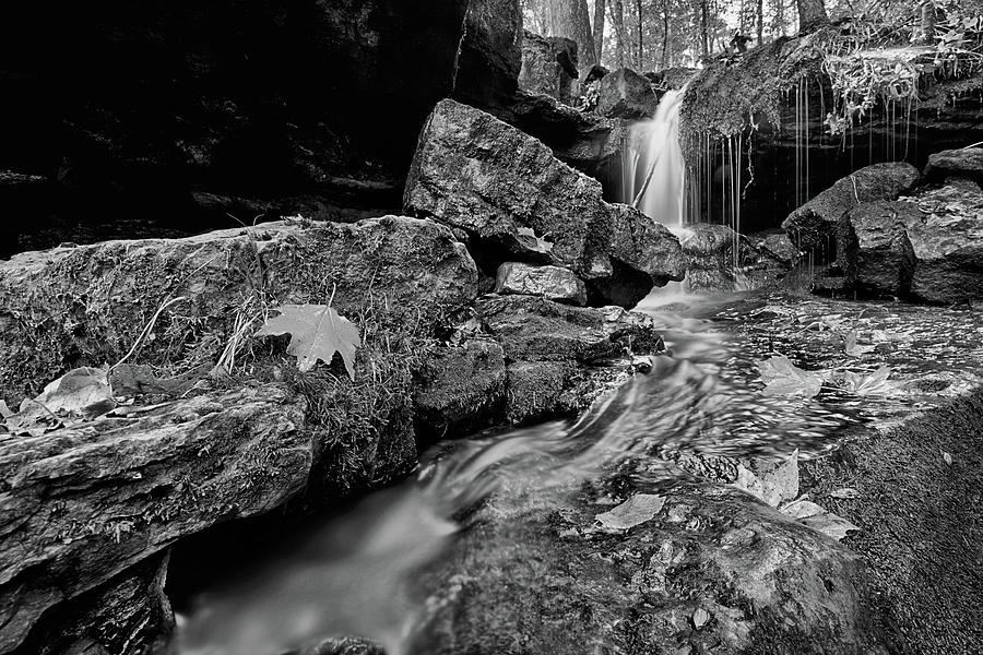 Ozark Mountains Autumn Waterfall Black and White by JC Findley
