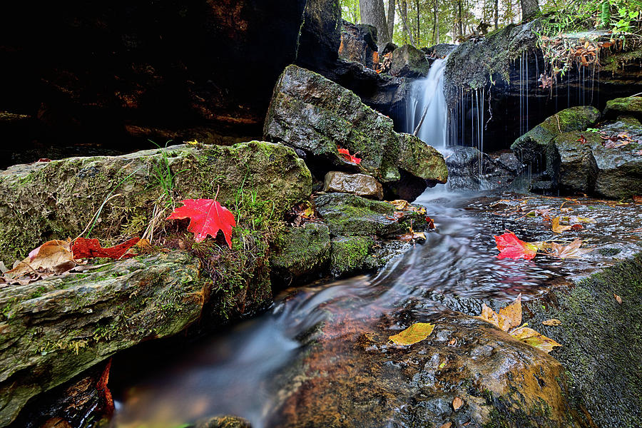 Ozark Mountains Autumn Waterfall by JC Findley