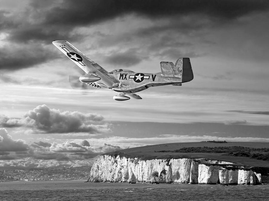 p-51 Over The White Cliffs Of Dover Black And White by Gill Billington