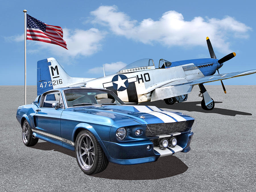 p-51 With 1967 Eleanor Mustang by Gill Billington