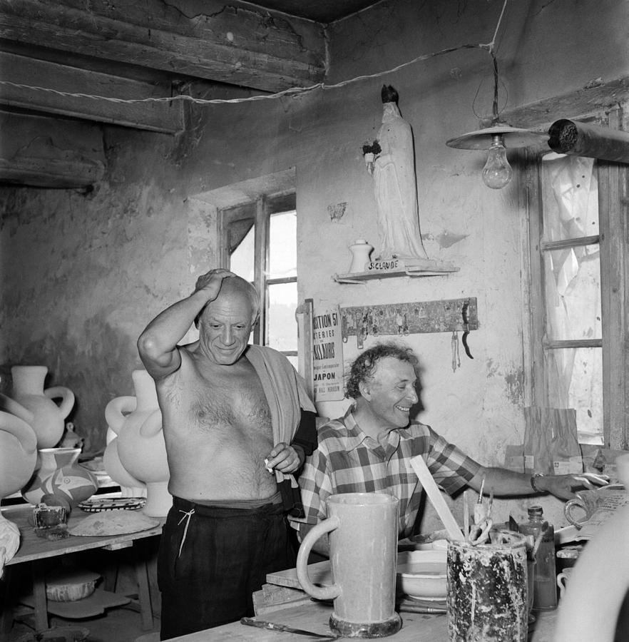 Pablo Picasso And Marc Chagall In 1948 Photograph by Reporters Associes