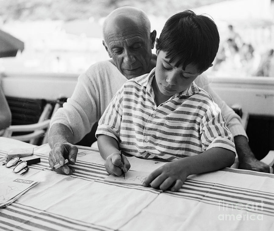 Pablo Picasso And Son Photograph by Bettmann
