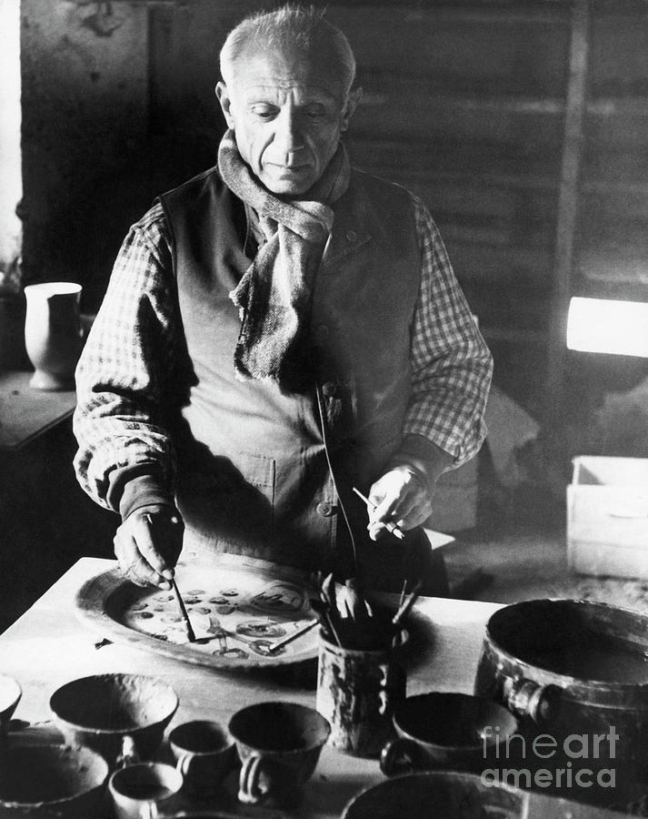 Pablo Picasso Painting Pottery Photograph by Bettmann
