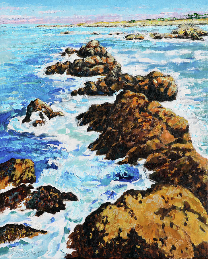 Ocean Waves Painting - Pacific Coast by John Lautermilch